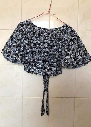 Блуза кроп топ в цветочный принт с воланами на рукавах zara4 фото