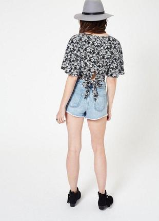 Блуза кроп топ в цветочный принт с воланами на рукавах zara6 фото