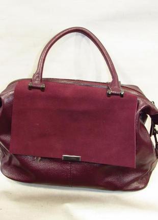 Красивая бордовая кожаная сумка винный цвет из натуральной кожи шоппер большая замшевая