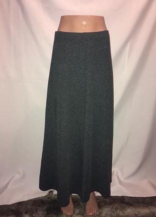 Серая длинная юбка трикотаж  44-46 р