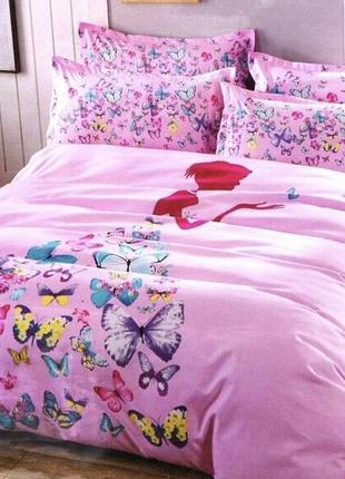 Оригинальное постельное белье евро премиум бабочки    заказ от  2 шт