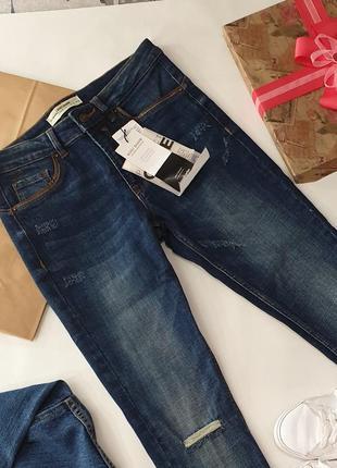 Крутые джинсы темно синие stradivarius размер eur 36 (xs/s) средней посадки