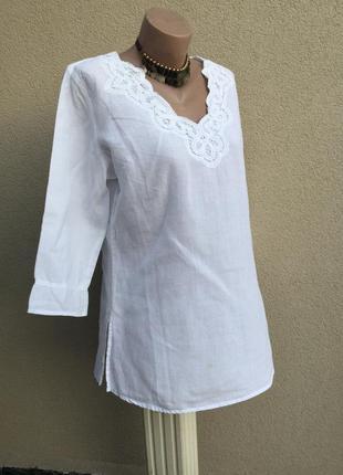 Белая блуза,рубаха,туника,кружево по вороту,этно,бохо стиль,хлопок,большой размер