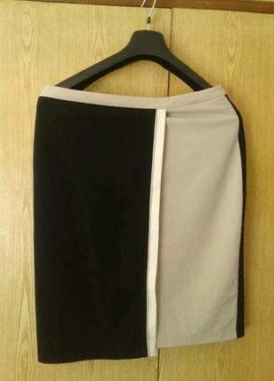 Вискозная черная юбка с запахом, xl.