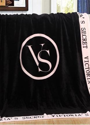 Мягкий плед, покрывало черное victoria s secret (виктория сикрет) pvs2