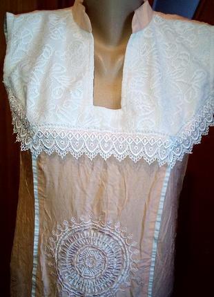 Платье длинное пудровое летнее с вышивкой