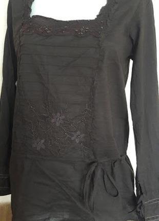 Блузка коричневая удлиненная