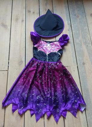 Карнавальное платье ведьма колдунья 11-12 лет с колпаком на хєллоуин