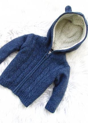 Стильная теплая кофта реглан свитер   с капюшоном in extenso