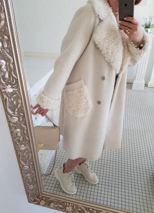 Роскошное крутое пальто шуба натуральный мех овчина 100% воротник меховые карманы