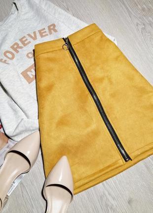 Красивая яркая замшевая юбка с замком спереди m-l