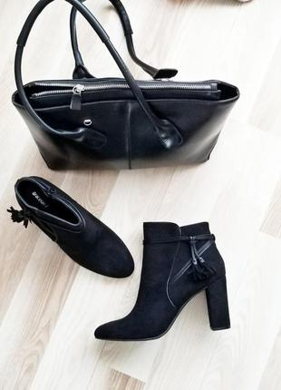 Замшевые ботильоны-ботинки,стильные,классическая модель на устойчивом каблуке