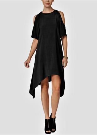 Платье силуэт трапеция с асимметричным низом и короткими рукавами, по плечам вырезы, м