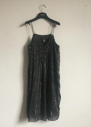Вечернее платье сарафан чёрное h&m на бретельках