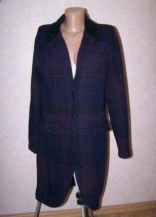 75054192129 Шикарное пальто в клетку ralph lauren шерсть кашемир пог-53см без подклада
