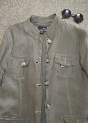 Льняной пиджак-френч. h&m.5 фото