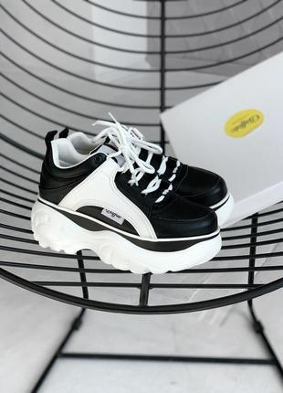 Шикарные женские кроссовки на платформе buffalo black white 😍 (весна/ лето/ осень)