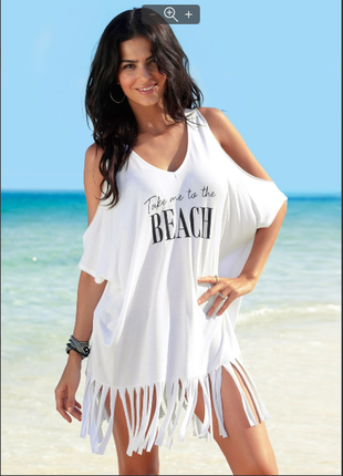 Новинка 2019 летняя футболка, туника с бахромой черная и белая р. 44-52