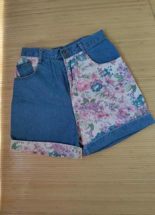 Американские джинсовые шорты  с мандерами цветочный принт arizona