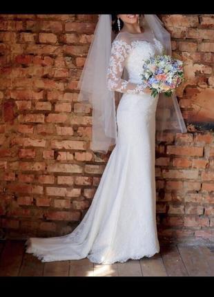 Свадебное платье luce sposa силуэт русалка {рыбка} со шлейфом