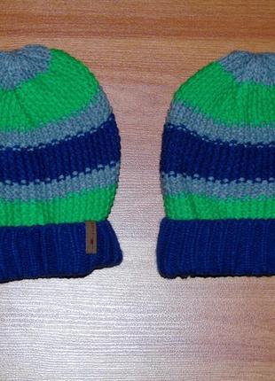 Шапка синяя,салатовая,серая полоски для близнят,двойнят, 134,140, 9-10 лет