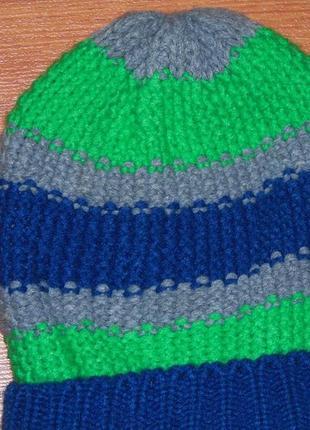 Шапка синяя,салатовая,серая полоски для близнят,двойнят, 134,140, 9-10 лет2 фото