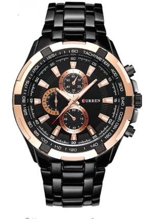 Кварцевые мужские часы curren с черным ремешком код 417
