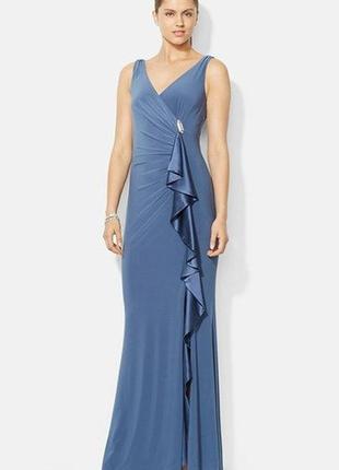 """Платье вечернее на запах с асимметричной драпировкой и каскадным воланом """"8"""" usa (46-48 р)"""