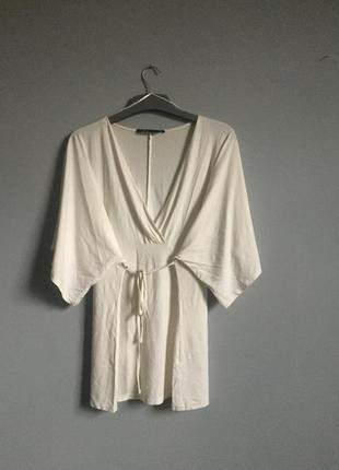 Кофта кимоно на завязках , кремовая .