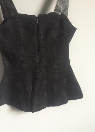 Чёрная кофта кружево + кожа с баской zara