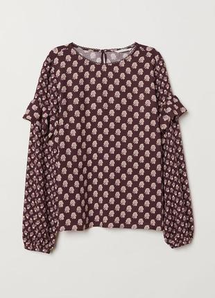 Новая с биркой вискозная блуза с оборками,шикарная блузка с воланами рюшами на рукавах,