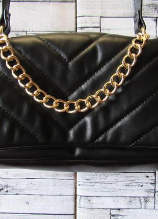 Распродажа! сумка  черна кожзам  длинный ремень!