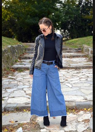 Стильные джинсы кюлоты c&a culotte с необработаными краями