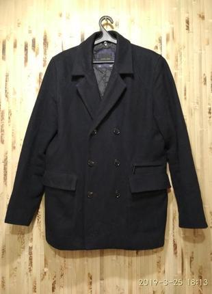 Пальто жакет куртка мужская утепленная чёрное шерстяное zara