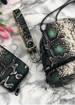 Маленький кожаный рюкзак модный принт