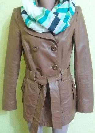 Косуха,кожанка,куртка,плащ от vero moda(s-m)100%кожа✔✔
