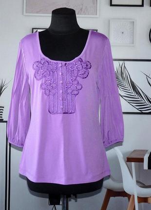 Блуза трикотажная с кружевной отделкой biba