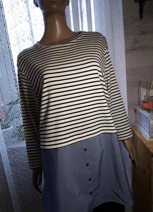 Удлинённая рубашка блуза туника, полосатая размер 18