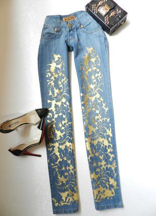 ⛔💣 джинсы с золотым узором