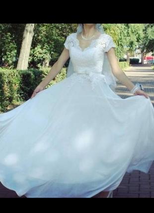 Платье вечернее, белое, свадебное