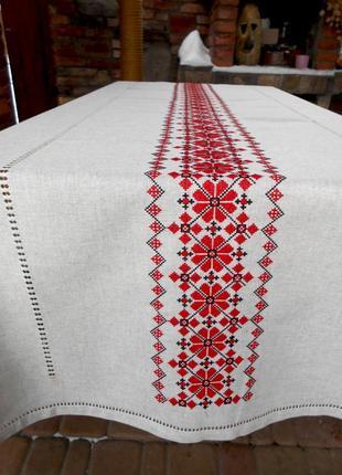 Вышитая украинская льняная скатерть берегиня