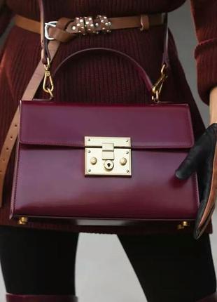Винтажная кожаная сумка бордовая из натуральной кожи шикарная качественная стильная италия