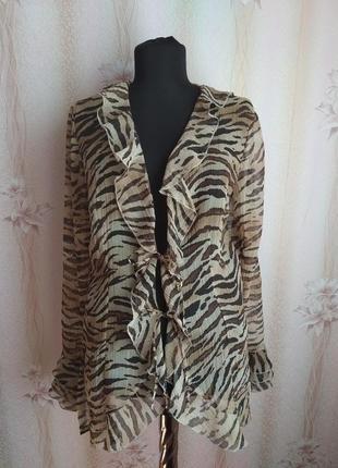Шифоновый кардиган-блуза naracamicie,с тигровым принтом ,р.48,