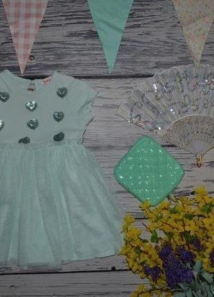 12 - 18 месяцев 86 см обалденное фирменное натуральное яркое платье сарафан сердечки