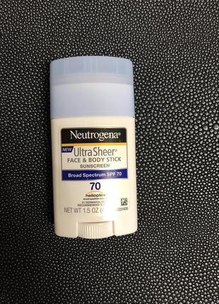Солнцезащитный стик neutrogena spf70 для лица и тела