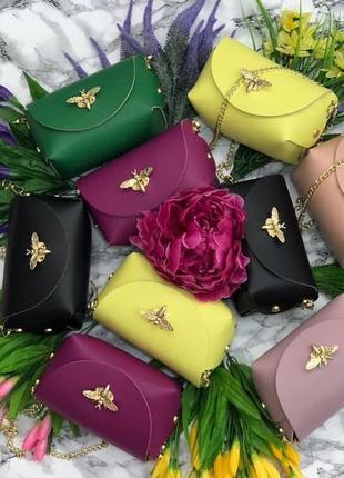 Маленькие кожаные сумочки с красивой застёжкой
