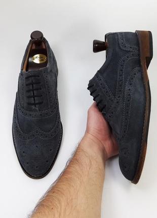Lotus 1759 made in portugal  кожаные туфли броги оксфорды синего цвета