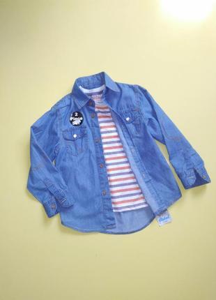 Комплект рубашка джинсовая и футболка rebel для мальчика на 4-5 лет