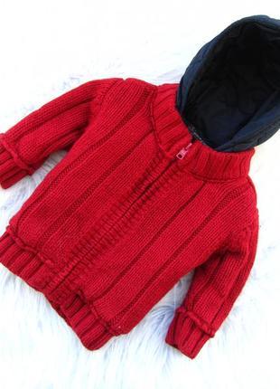 Стильная теплая кофта реглан свитер куртка   с капюшоном next