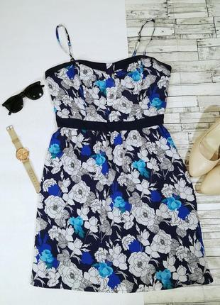 Платье  синее цветочный принт 12/38 oasis